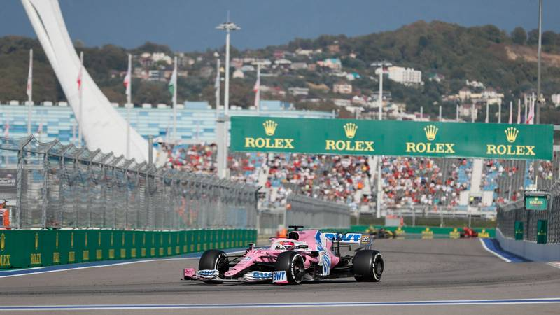 Sergio Perez in the Racing Point during the 2020 f1 Russian Grand Prix in Sochi