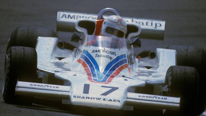 Alan Jones in the Shadow Ford during the 1977 F1 Spanish Grand Prix at Jarama