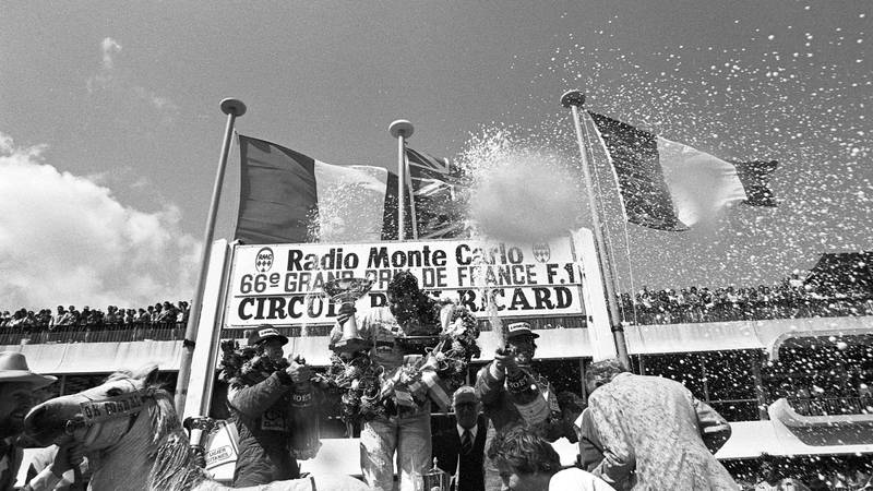 Alan Jones, Didier Pironi and Jacques Laffite on the podium at Paul Ricard after the 1980 F1 French Grand Prix