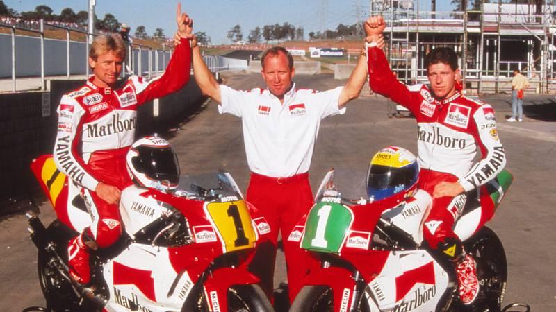 Wayne Rainey, Kenny Roberts and John Kocinski in 1990