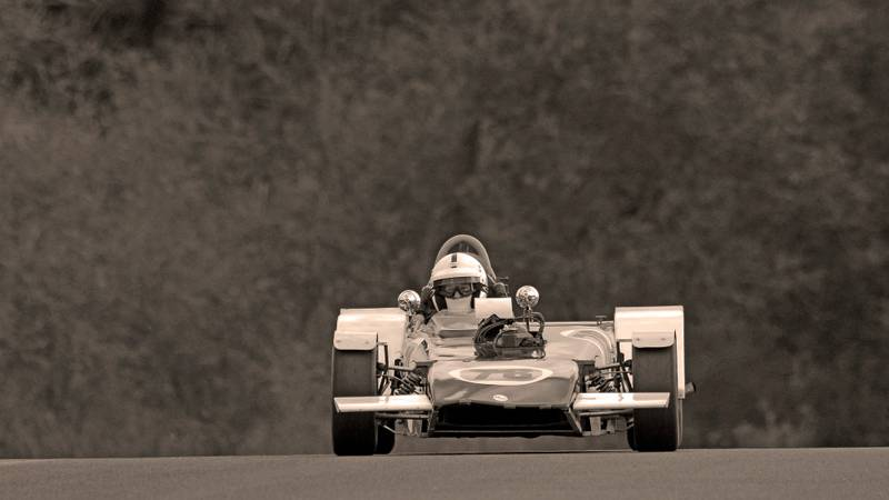 David Bain's Mallock U2 Mk11B at the Wolds Trophy meeting at Cadwell Park in September 2020