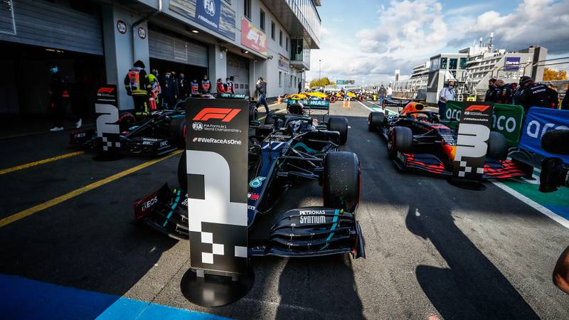 Valtteri Bottas Lewis Hamilton and Max Verstappen's cars in parc ferme after qualifying at the Nurburgring for the 2020 F1 Eifel Grand Prix