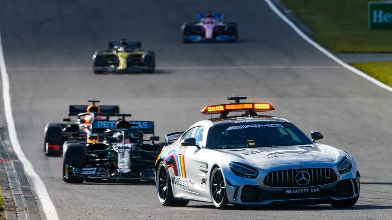 Lewis Hamilton and Max Verstappen drive behind the safety car at the Nurburgring during the 2020 F1 Eifel Grand Prix