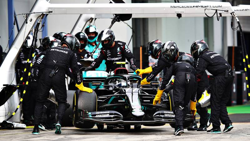 Valtteri Bottas is pushed into his pit garage to retire during the 2020 F1 Eifel Grand Prix at the Nurburgring
