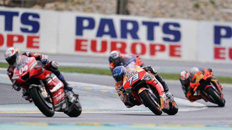 Andrea Dovizioso, Alex Marquez, Pol Espargaro and Miguel Oliveira at Le Mans during the 2020 MotoGP French Grand Prix