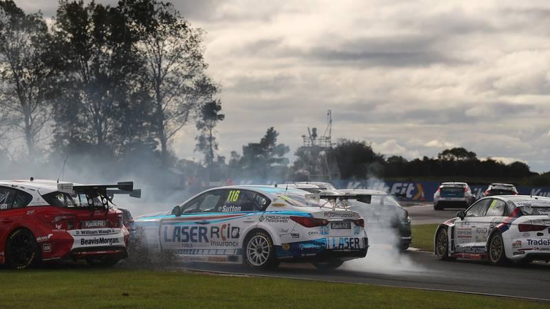 Sutton spins off at the 2020 BTCC Croft round